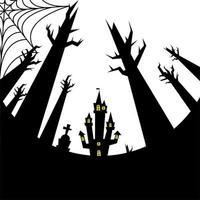 halloween hus, grav och kala träd vektor design