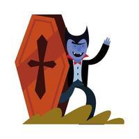 Halloween-Vampir-Karikatur im Sargvektorentwurf