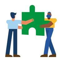 Mann mit Puzzle-Vektor-Design