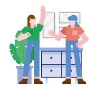 Frauen vor Möbelvektorentwurf vektor