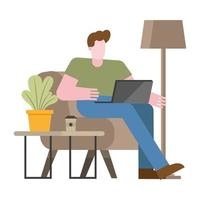 Mann mit Laptop auf Stuhl, der vom Hauptvektordesign arbeitet