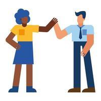 schwarze Frau und Mann, die Hände Vektorentwurf halten
