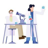 chemischer Mann und Frau mit Mikroskop und Flasche am Schreibtischvektorentwurf