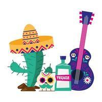 mexikanischer Kaktus mit Hutschädel-Tequila und Gitarrenvektorentwurf