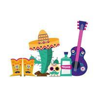 mexikanischer Kaktus mit Hutstiefelschädel-Tequila und Gitarrenvektorentwurf