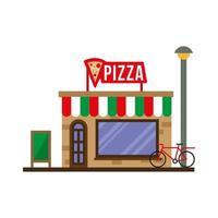 kleine Pizzaladen Gebäude Fassadenszene