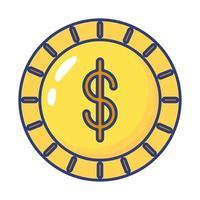 mynt pengar dollar platt stilikon