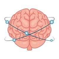 menschliches Gehirn mit Pluszeichen