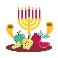 färsk frukt och menorah ikoner vektor