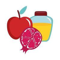 Honig im Glas mit Apfel und Granatapfel