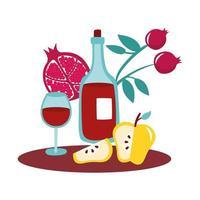 gelbe Äpfel und Granatäpfel mit Wein