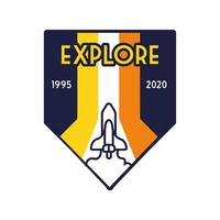 rymdmärke med rymdskepp som flyger och utforska bokstäver och fyllningsstil