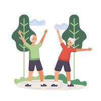 aktiva äldre par som övar