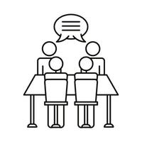 Vier Arbeiter sprechen an der Tischlinien-Stilikone