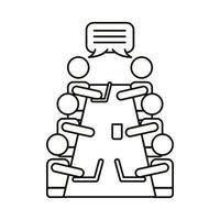 Gruppe von Arbeitern, die an der Tischlinien-Stilikone sprechen