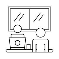 Avatar-Paar arbeitet an Laptop-Linie Stil-Symbol