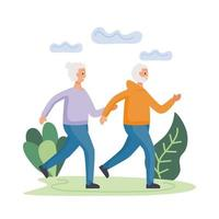 aktives älteres Paar, das in den Feldcharakteren läuft