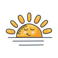 kawaii halv sol komisk karaktär