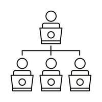 Coworking Line Style-Symbol für vier Worker-Netzwerke