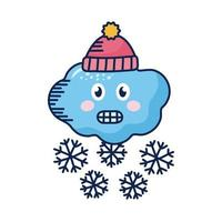 kawaii Wolke mit Schneeflocken und Wintermütze