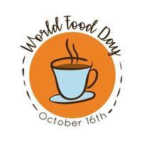 Welternährungstag-Feierbeschriftung mit Kaffeeflachart