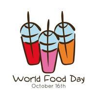 världens matdag firande bokstäver med milkshakes platt stil