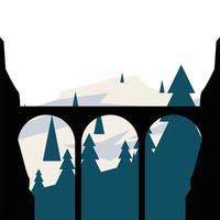 Brückensilhouette vor Kiefernlandschaftsvektorentwurf