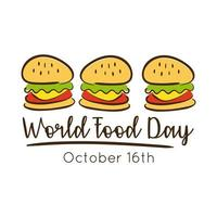 världens matdag firande bokstäver med hamburgare platt stil