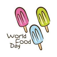 Welternährungstag-Feierbeschriftung mit der flachen Art der Eiscreme