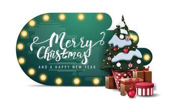 Frohe Weihnachten und ein frohes neues Jahr, grüne abstrakte Formkarte mit Glühbirnenlichtern und Weihnachtsbaum in einem Topf mit Geschenken lokalisiert auf weißem Hintergrund