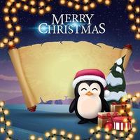 god jul, hälsningsvykort med pingvin i jultomtenhatt med presenter, gammalt pergament för din text och vackra vinterlandskap i bakgrunden vektor