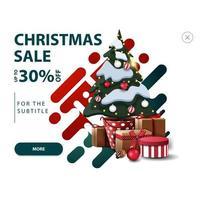 Weihnachtsverkauf, bis zu 30 Rabatt, weißer Rabatt Pop-up für Website mit abstrakten Formen in roten und grünen Farben und Weihnachtsbaum in einem Topf mit Geschenken