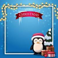 Weihnachtsblaue leere Vorlage für Ihre Künste mit Platz für Text, Girlande, weißen Rahmen und Pinguin im Weihnachtsmannhut mit Geschenken