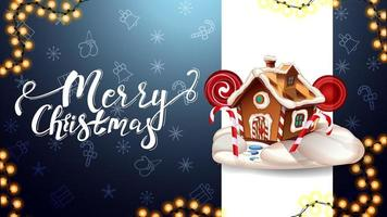 god jul, blå vykort med vertikal vit linje, julmönster och pepparkakshus för jul