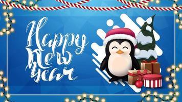 Frohes neues Jahr, blaue Grußkarte mit abstrakter flüssiger Form, Girlande und Pinguin im Weihnachtsmannhut mit Geschenken