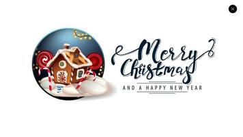 god jul, vitt kort för webbplats i minimalistisk stil med vackra bokstäver och jul pepparkakshus vektor