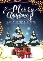 Frohe Weihnachten und ein gutes neues Jahr, vertikale blaue Postkarte mit Karikaturwinterlandschaft, Girlanden und Weihnachtsbaum in einem Topf mit Geschenken