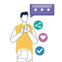 Mann und Smartphone mit Social-Media-Symbolen, Konzept der Online-Kommunikation auf weißem Hintergrund