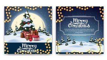 zweiseitige Postkarte des Weihnachtsquadrats mit Karikaturwinterlandschaft, großem gelbem Mond und Weihnachtsbaum in einem Topf mit Geschenken