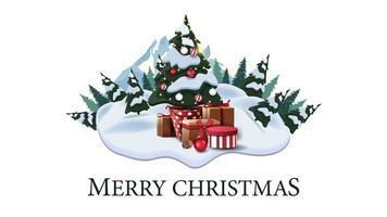Frohe Weihnachten, moderne Postkarte mit Kiefern, Drifts, Berg und Weihnachtsbaum in einem Topf mit Geschenken