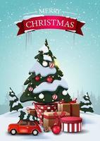 god jul, vertikalt vykort med tecknade granar, drivor, blå himmel, julgran i en kruka med gåvor och röd veteranbil som bär julgran