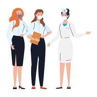 Arbeiter, die Gesichtsmaske während covid 19 auf weißem Hintergrund verwenden