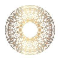 elegant prydnad, rund mandala i gyllene färg vektor