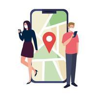 Frau und Mann mit Masken, die Smartphone und GPS-Markierungsvektordesign halten