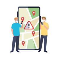 Männer mit Masken, die Smartphone- und GPS-Markierungen auf Kartenvektorentwurf halten