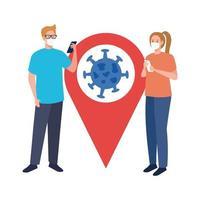 Frauen mit Masken Smartphone und Covid 19 Virus in GPS Mark Vektor-Design