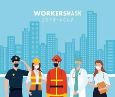 Leute Arbeiter mit Arbeitermasken vor Stadtgebäuden Vektordesign
