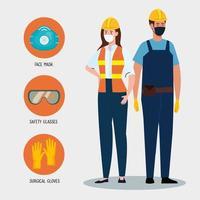 weibliche und männliche Konstrukteure mit Uniformen und Maskenvektordesign