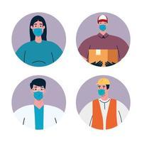 Menschen Arbeiter mit Uniformen und Arbeiter Masken Vektor-Design