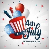 USA Hut Ballons und Feuerwerk der Unabhängigkeit Tag Vektor-Design